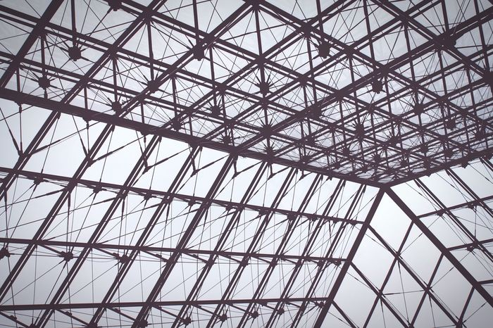 Glass & Steel Low Angle View Backgrounds No People Day Sky Architecture Pattern Built Structure Full Frame EyeEmNewHere Monocrome Light And Shadows Glass - Material Glass Windows Glass And Steel France Louvre Modern Arquitecture Black And White Minimalist Architecture The City Light The Architect - 2017 EyeEm Awards Black And White Friday The Graphic City