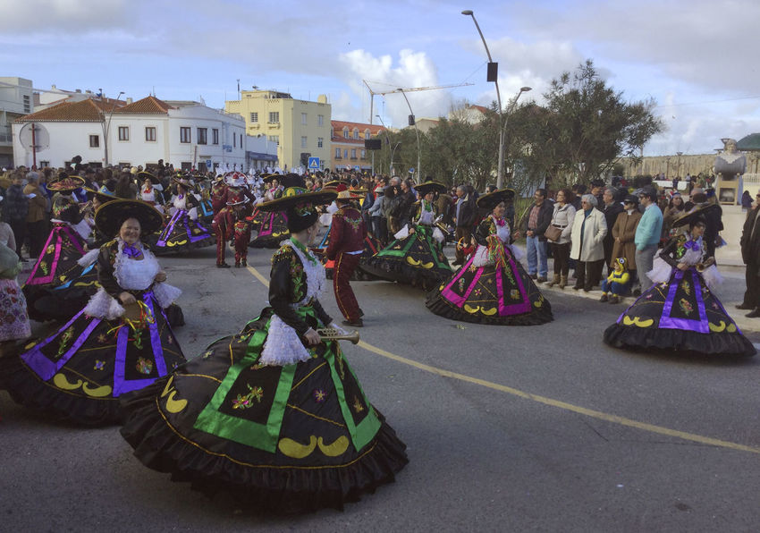 PENICHE, PORTUGAL - February 28, 2017: Carnival parade in central Peniche, Portugal. 2017 Annual Event Carnival Carnival Crowds And Details Costume Culture Dancers Iberian Parade Peniche, Portugal Portugal Traditions