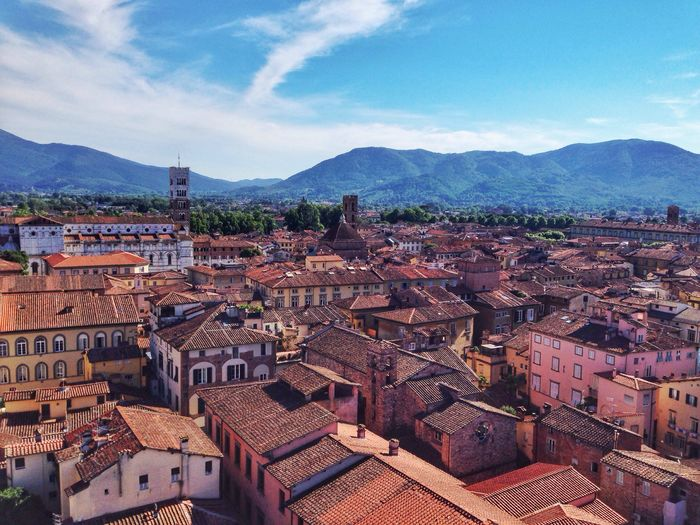 Lucca, Tuscany, Italy Architecture Mountain Built Structure Building Exterior Sky Mountain Range No People Outdoors High Angle View Day Cloud - Sky Residential Building Town Roof Cityscape City Tiled Roof  Lucca Italy Tuscany