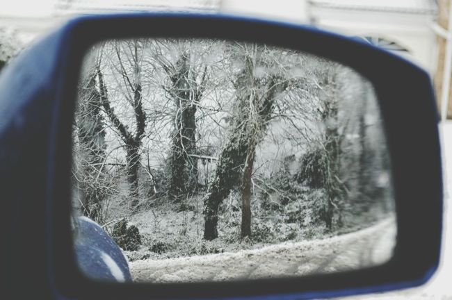 In The Mirror Looking Back Snow Scene  Snowed Today Day Close-up Land Vehicle Transportation No People Outdoors