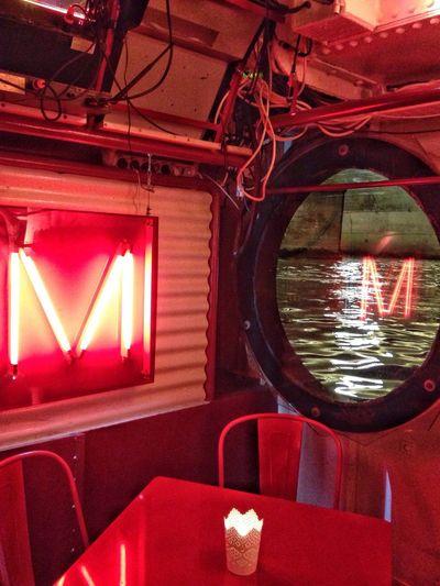 M... Red Lettering Peniche Reflection Seine