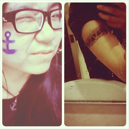Last night to be vandalized on board! Credits to Phebe and Emily for the 'tattoo' and making me feel oh so badass walking around town tonight :D Facepaint LogosHope Anchor