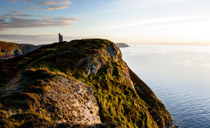 Beauty In Nature Bradda Head Cliff Close-up Isle Of Man Landscape Milner Nature Outdoors Sea Tower Tranquil Scene Travel Travel Destinations