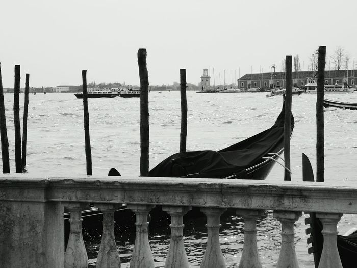 Sea Gondola - Traditional Boat Nautical Vessel Water Travel Destinations Pole Outdoors No People City Nature Day Sky Venice Venezia Italy VSCO Italia Blackandwhite Black And White Photography