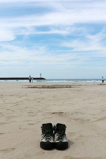 3일동안 올레길을 함께한 신발님께 하늘보며 감사 Shoes Traking Boots Hiking BootsBeach Sea And Sky Sand & Sea Relaxing JEJU ISLAND  The Great Outdoors - 2016 EyeEm Awards The Following The Essence Of Summer On The Way