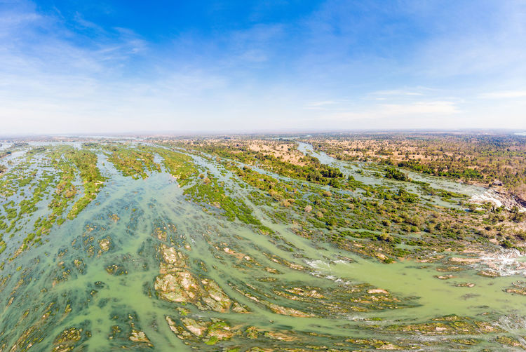Si Phan Don LAO Sky Scenics - Nature Cloud - Sky Environment Aerial View Nature Day Water No People Landscape Tranquility Beauty In Nature Tranquil Scene Outdoors Travel Destinations High Angle View Lake Horizon Travel Cityscape Semi-arid