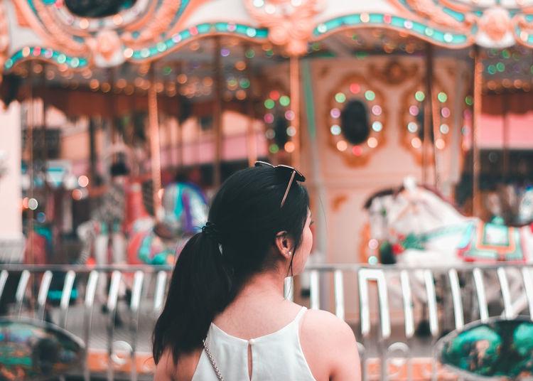Portrait of a girl in amusement park
