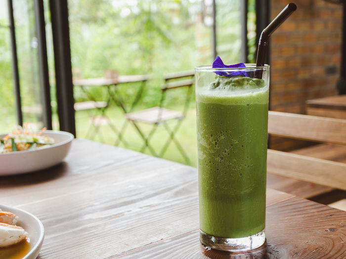 Green drink on table