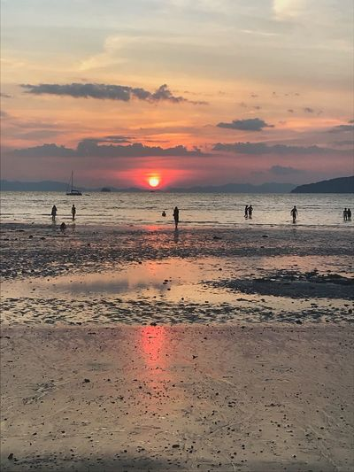 6 pm sunset at Railey beach, Thailandia Low Tide Shells Sun End Of Summer Reflection Nature Romance Thailand Railey Beach Water Beach Sea Land Sunset Sky Beauty In Nature