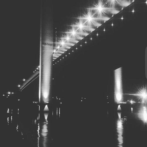 Night Architecture Bridge - Man Made Structure Bridge City Dark Waterfront Diminishing Perspective Black And White
