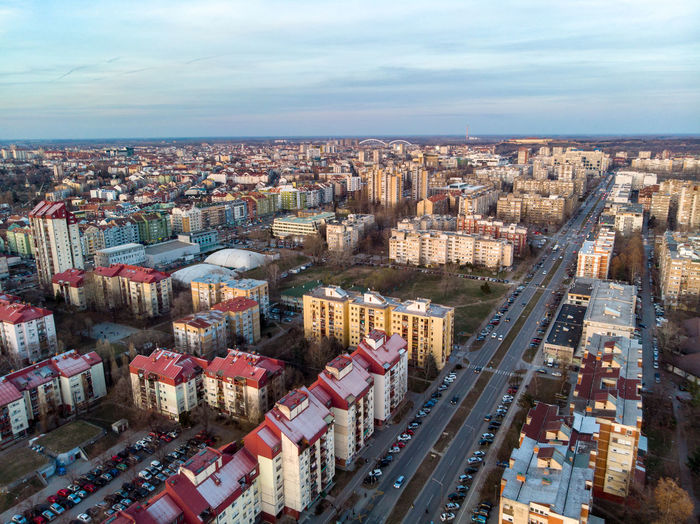 City Building Exterior Architecture Cityscape Sky Built Structure Cloud - Sky High Angle View Aerial View Building Transportation Nature Day Road City Life No People Street Residential District Horizon Outdoors Office Building Exterior Skyscraper Novisad