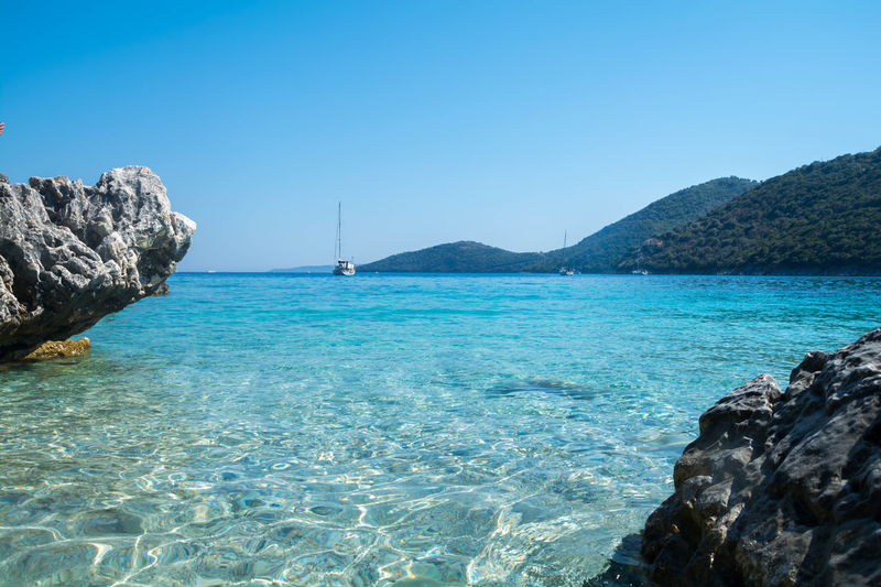The Mikros Gialos beach of Lefkas in Greece Beach Beauty In Nature Blue Clear Sky Day Horizon Over Water Lefkas Mountain Nature Nautical Vessel No People Outdoors Rock Rock - Object Sailboat Scenics - Nature Sea Sky Solid Tranquil Scene Tranquility Transportation Turquoise Colored Water Yacht