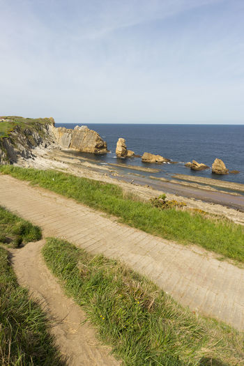 Cantabria Arnia Beach Beauty In Nature Clear Sky Cliff Coast Day Grass Horizon Over Water Landscape Nature No People Ocean Outdoors Rock - Object Scenics Sea Sky Tranquil Scene Tranquility Water
