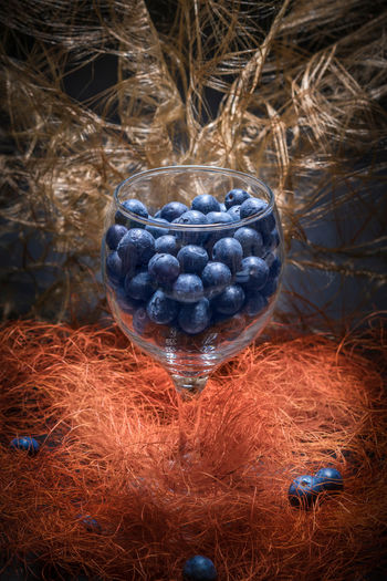 Blueberry Blueberry Close-up Day Food Food And Drink Freshness Fruit Glass Grass Hay Healthy Eating Indoors  Material Nature No People Plant Tabletop