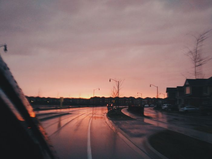 Transportation Sunset Sky No People Nature Outdoors Road Rainy Day Blurred Motion Car Dusk