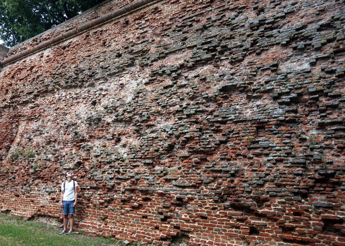 Young man standing against old brick wall