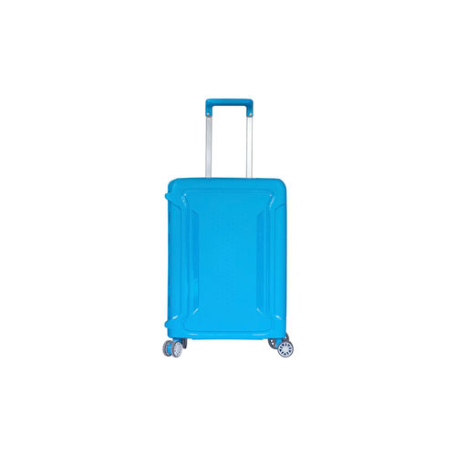 Beautiful blue color travel luggage isolated on white background, with clipping path. Blue Studio Shot Copy Space White Background Indoors  Single Object No People Cut Out Still Life Close-up Protection Travel Luggage Security Plastic Equipment Suitcase Safety Transparent Wheeled Luggage Turquoise Colored Isolated Wheel Travel Destinations Tourist