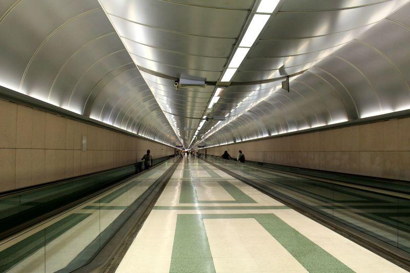 Illuminated subway station