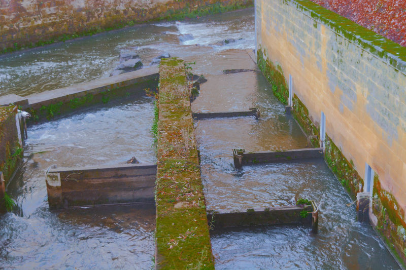 High angle view of steps by wall during winter