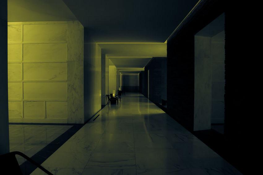 Lakewood Architecture Built Structure Corridor Indoors  Mausoleum Neon Noir Noir Passage Yellow