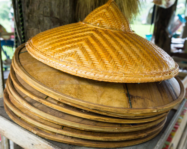 Asian Bamboo Hats Asian  Hat Rice Paddy Stack Thailand Bamboo Close-up Hat Hats HEAD Many No People Protection Stack Weave Pattern