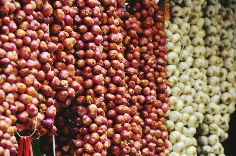 Onions and garlic hanging at store
