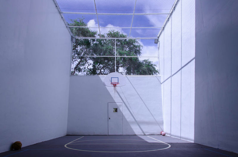 Basketball Court In Sunny Day