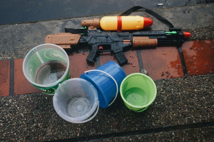 Bucket Container Day No People Plastic Songkran Still Life Water Gun