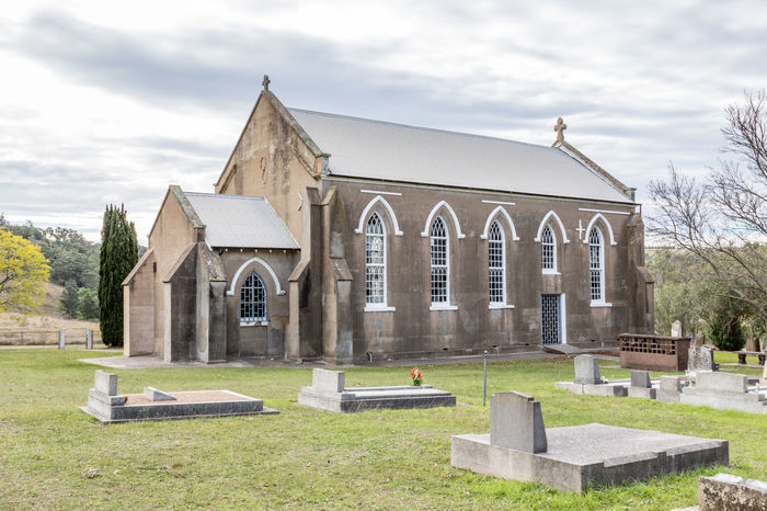 Country church in rural setting Australia Australian Cemetery Chapel Church Country Grass Nature Rural Sky And Clouds Trees Abandoned Architecture Blue Brick Building Exterior Built Structure Day Landscape No People Outdoors Religion Religious  Sky Stone