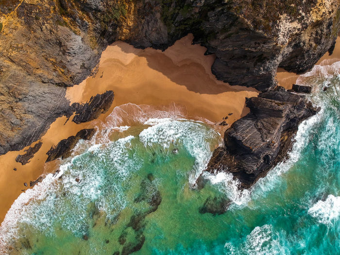 Drone  Nature Portugal Rock Rock Formation Tranquility Wave Aerial View Beach Beauty In Nature Cavaleiro Cliff Dronephotography High Angle View Idyllic Ocean Outdoors Photography Physical Geography Power In Nature Sand Scenics - Nature Sea View From Above Water
