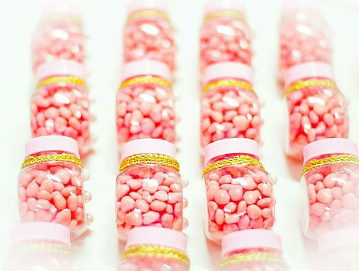 High Angle View Of Candies In Glass Jar