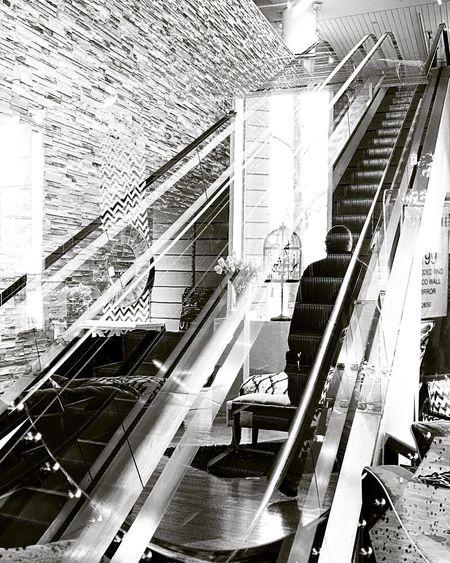 Rising escalator city shopping center
