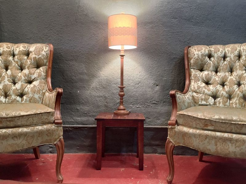 Chair Indoors  Empty Absence Wall Lit Arrangement Home Interior Vintage Style Vintage Furniture Red Small Table One Lamp