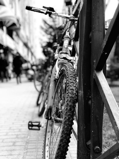 Bicycle Transportation Mode Of Transport Day Wheel Outdoors Focus On Foreground Close-up Land Vehicle Bicycle Rack No People AI Now