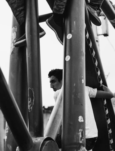 Portrait of young man in playground