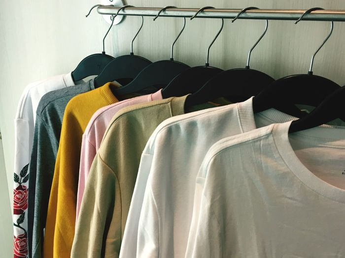 EyeEm Selects Hanging Coathanger No People Textile Clothing Indoors  Choice Variation Clothes Rack Store Large Group Of Objects Multi Colored