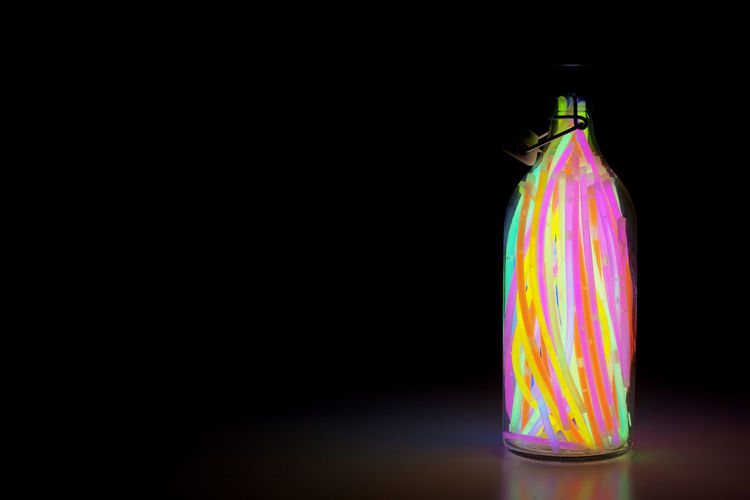 genie in a bottle 2 Black Background Bottle Close-up Colours Light Sticks Multi Colored No People Snaplight