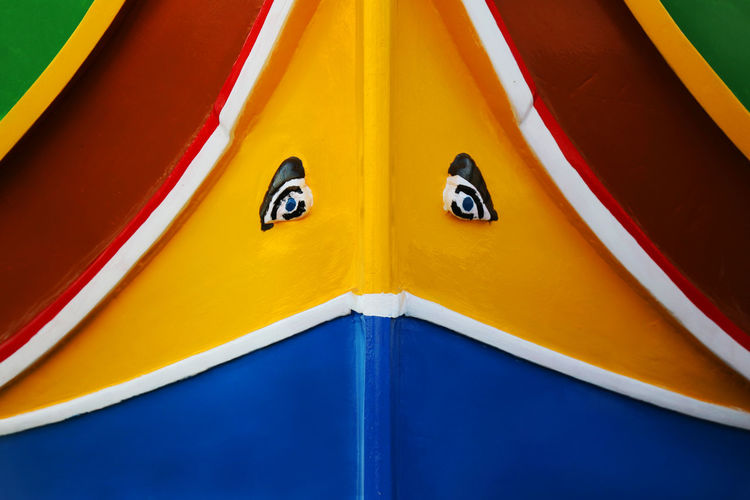 Close-up of anthropomorphic face on boat