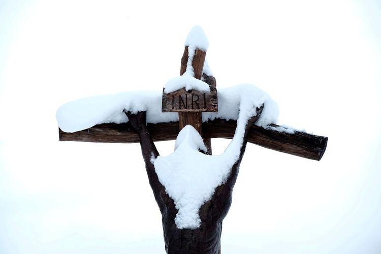 snowing again ... Alone Cross INRI Religious Architecture Religious Art Snow Covered White