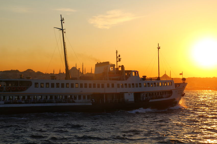 Boat Bosphorus Mosque Sea Sky Sun Sunset Water Waterfront