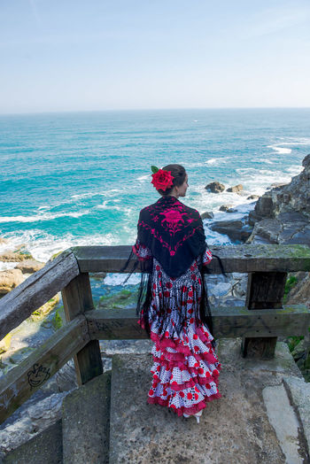 Andalucía Flamenco Spanish Woman Adult Adults Only Beauty In Nature Clear Sky Day Full Length Horizon Over Water Lifestyles Nature One Person Outdoors People Real People Rear View Scenics Sea Sky Standing Tranquil Scene Water Women Young Adult