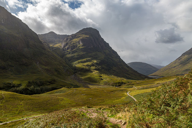 Rugged mountains in the scottish highlands on a sunny late summers day