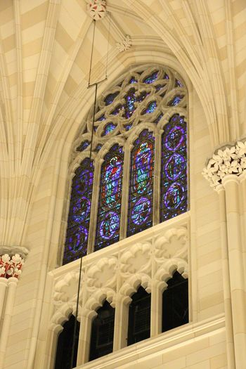 Religion Place Of Worship Low Angle View Architecture Window Stained Glass No People Spirituality Indoors  Ceiling Built Structure Travel Destinations Arch Rose Window Canonphotography EyeEm Traveling No Edit/no Filter Vibrant Color Blue Cathedral