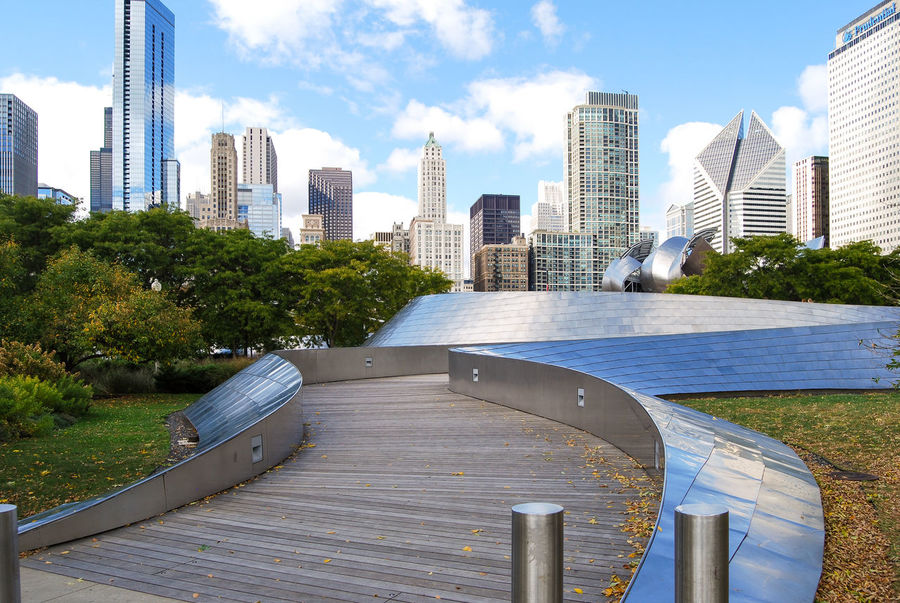 View of the Chicago Skyline from BP Bridge which is located in Millennium Park. Architecture BP Bridge Chicago Building Exterior Chicago Chicago ♥ City City Life Millennium Park Office Building Skyscraper Urban Skyline USA