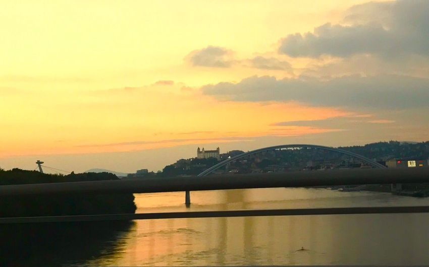 Sunset Architecture Built Structure Connection Bridge - Man Made Structure River Sky Water Building Exterior Silhouette No People Reflection Outdoors Nature Transportation Scenics City Beauty In Nature Tree Cityscape Slovakia Nature Bratislava, Slovakia Backgrounds