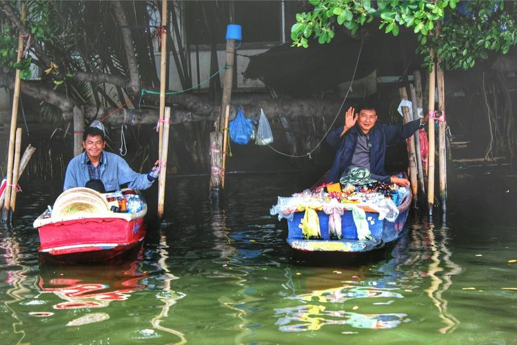 Two People Tree Water Water Boat