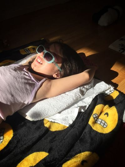 Sunbathing ☀️ at Home🙈 Indoors  Home Bed Bedroom High Angle View Lying On Back Lying Down Home Interior One Person Real People Relaxation Pillow Lifestyles Eyeglasses  Towel Sunglasses Childhood Day People