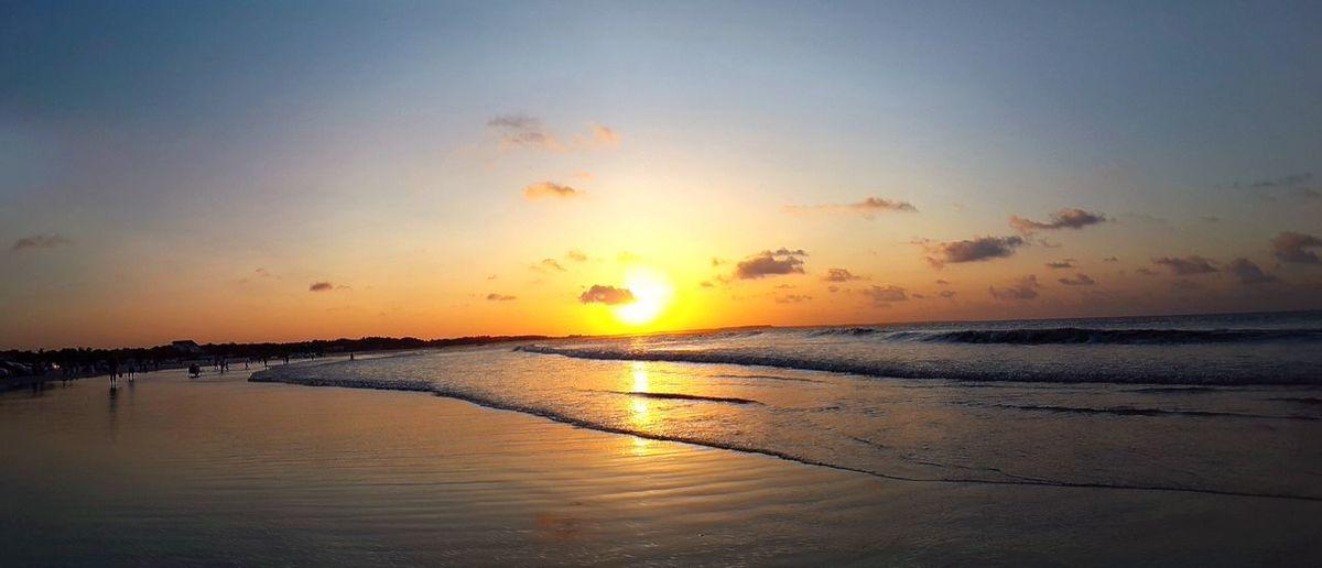 City of Salinópolis, Atalaia Beach, State of Pará, Amazon, Brazil. Sunset Beach Sun Reflection Nature Sea Scenics