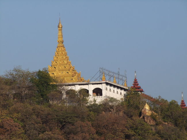 View of Pagoda on Mandalay Hill (790ft) Architecture Blue Sky Buddhist Culture Buddhist Pagoda Building Exterior Built Structure Composition Gold Coloured History Low Angle View Mandalay Mandalay Hill Myanmar No People Outdoor Photography Pagoda Place Of Prayer Place Of Worship Place Of Worship Religion Sunrise Tourism Tourist Attraction  Travel Destinations Trees