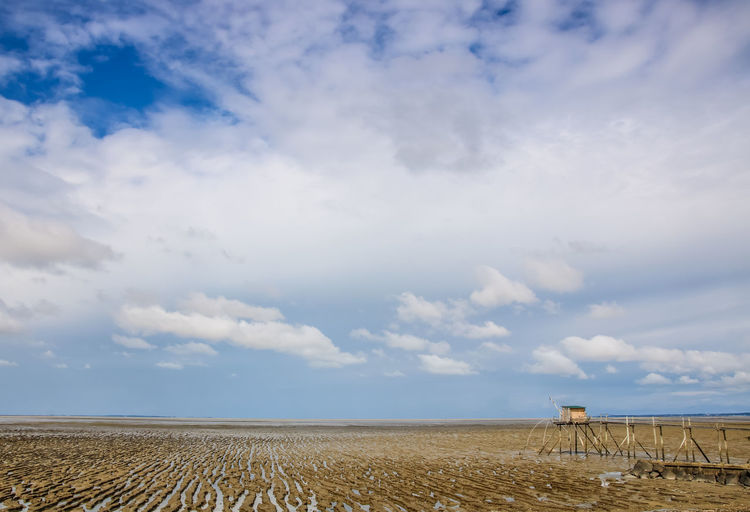 Day Loire Atlantique Sea Seaside Atlantic Ocean Ocean Sky Nature Beauty In Nature Outdoors Cloud - Sky Land Tranquil Scene Tranquility Scenics - Nature Horizon No People Fishing Hut Fishing Net Fishing Cabin Low Tide Low Tide Revelations Wood - Material Environment Field Landscape Horizon Over Land